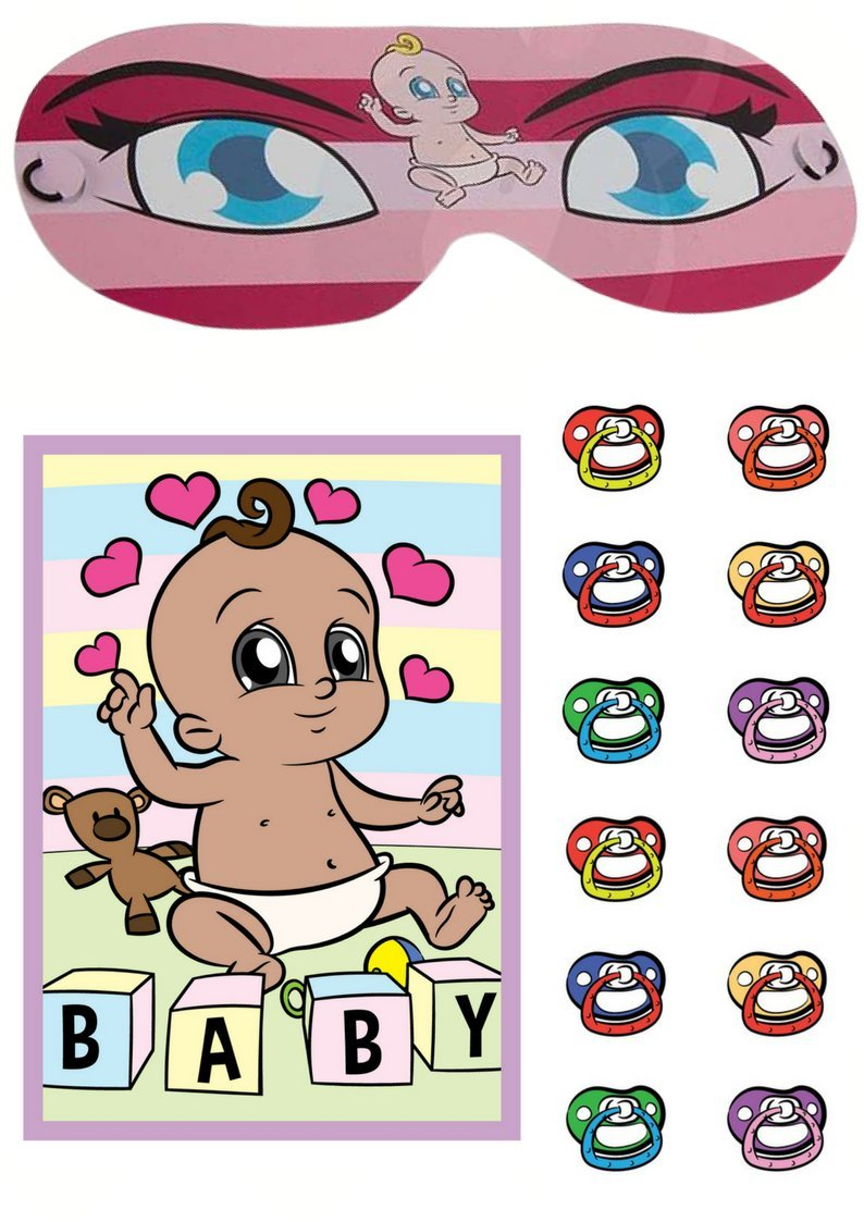Cake Factory Pin The Dummy On The Baby Ethnic Shower Party Game Boy Girl Unisex 12-40 Players BABY BOY, 12