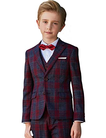 7e37834f8 Amazon.com  ELPA ELPA Boys Suits 6 Pieces Slim Fit Plaid Suit ...