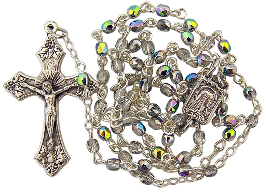 13 Inch Religious Art Glass Prayer Bead Rosary with Our Lady Madonna Centerpiece