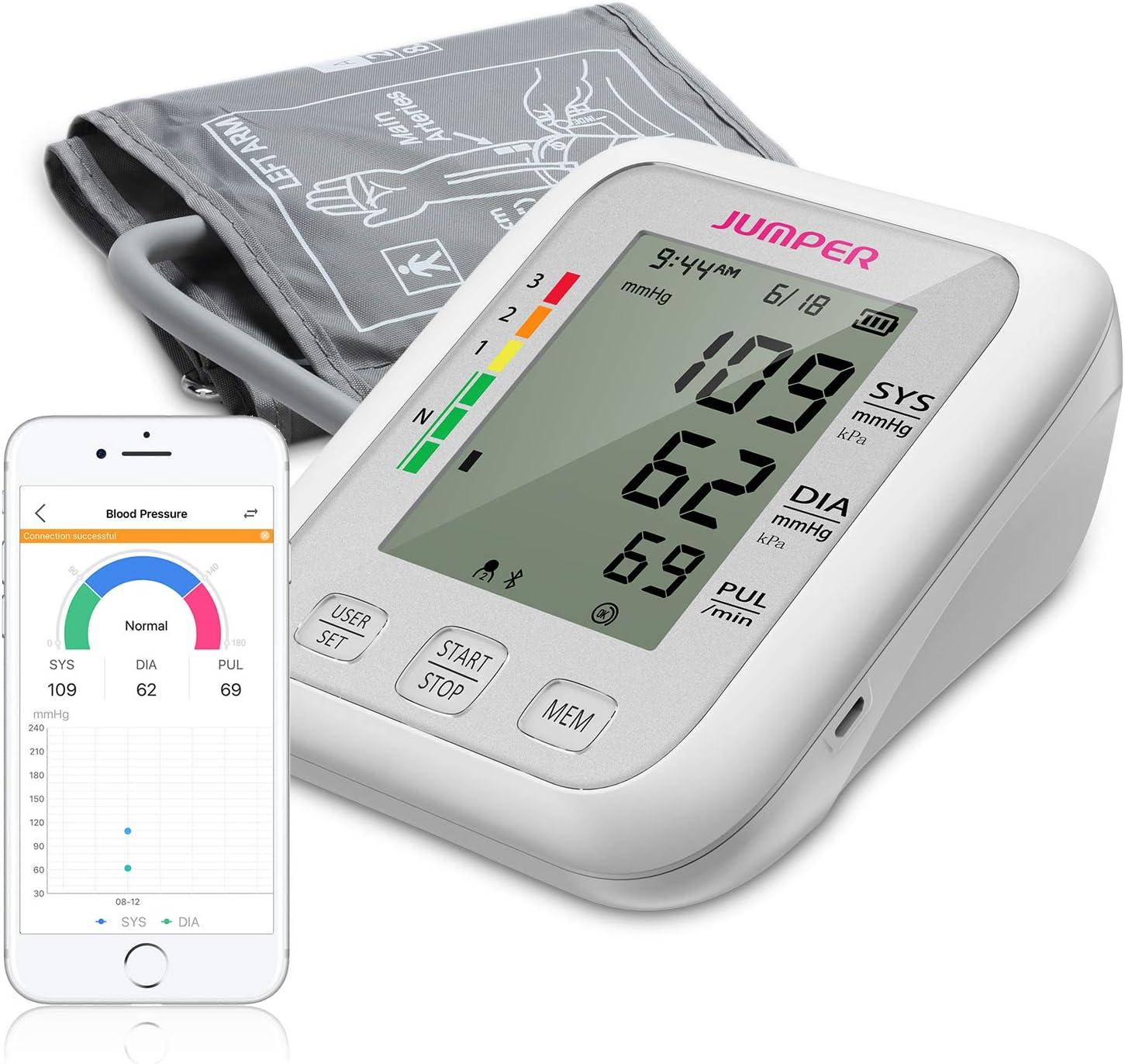 Monitor de Presión Arterial JUMPER en la Parte Superior del Brazo, 2 Usuarios, 2 Módulos de Fuente de Alimentación, 198 Memoria de datos, Gran pantalla LCD, Brazalete Ajustable Grande(Blanco)