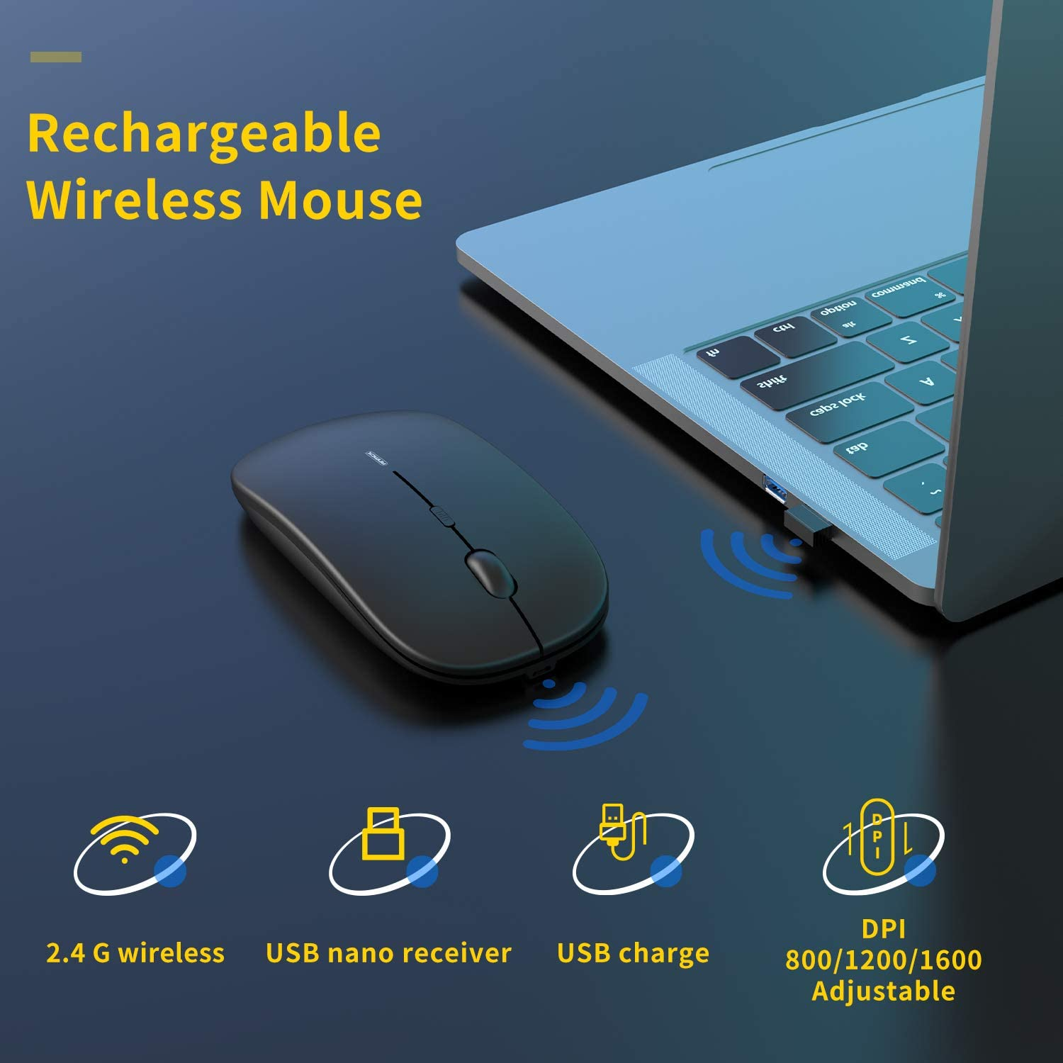 Anmck Wireless Silent Rechargeable Mouse for Laptop or Computer WAS £9.99 NOW £4.99 w/code 9CWBXKQ8 @ Amazon