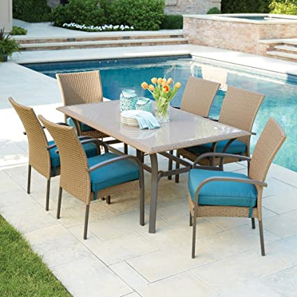 Merveilleux Corranade 7 Piece Wicker Outdoor Dining Set With Charleston Cushions