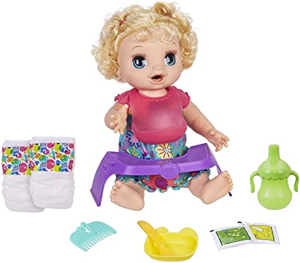 Amazon Com Baby Alive Happy Hungry Baby Blond Curly Hair Doll Makes 50 Sounds Phrases Eats Poops Drinks Wets For Kids Age 3 Up Toys Games
