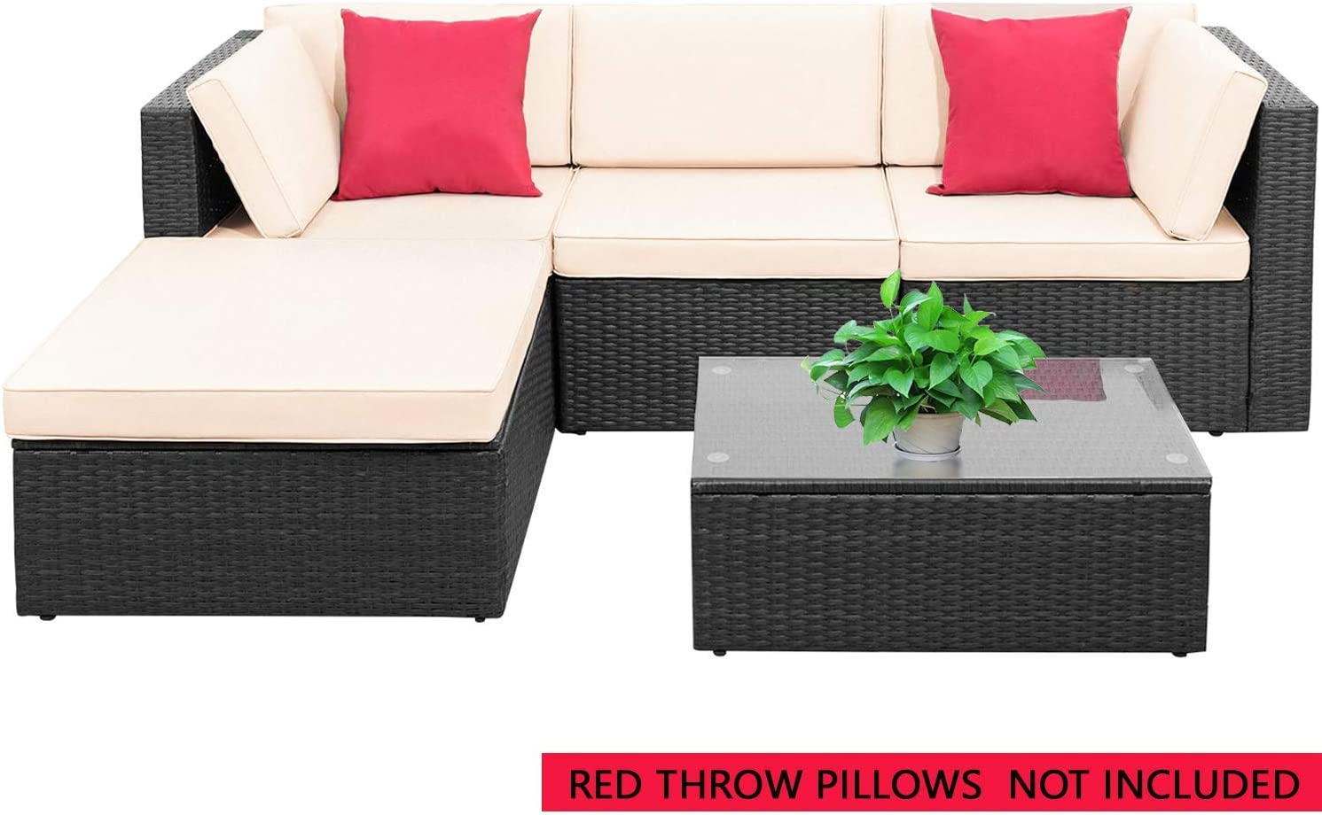 PayLessHere 11 Pieces Furniture Outdoor Wicker Sectional Patio