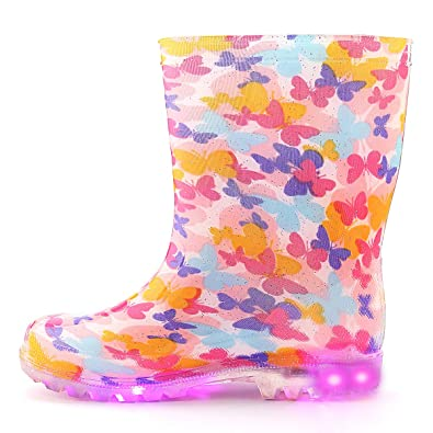 a009e6bf3 KushyShoo Flashing Wellies for Girls, Light Up Wellington Boots Size 5-13 1-