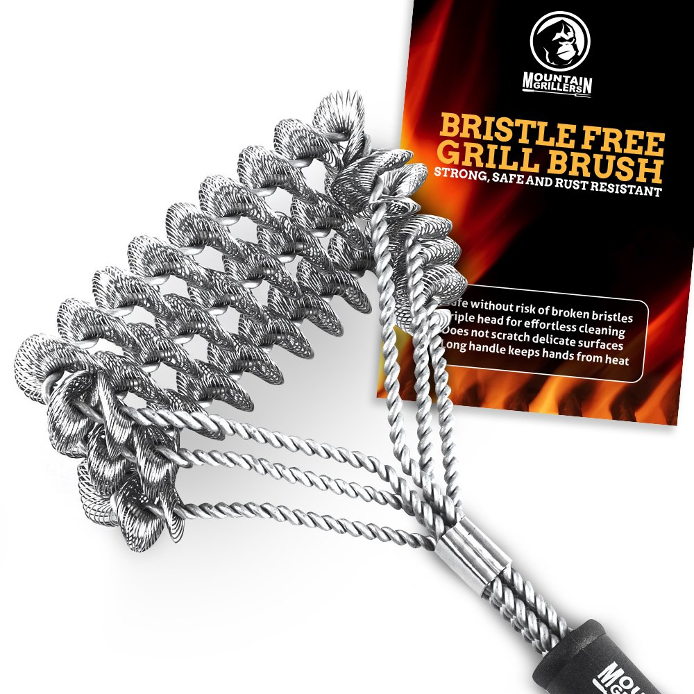 Mountain Grillers Grill Brush Bristle Free for BBQ - Best Barbecue Brushes to Prevent Flare Ups for That Perfect Checkerboard Steak - Easily Cleans Metal Grills and Porcelain Grates Without Damage