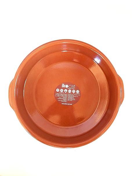 Ikocat® - Bandeja Redonda de Terracota para Horno (32 cm, con Asas ...