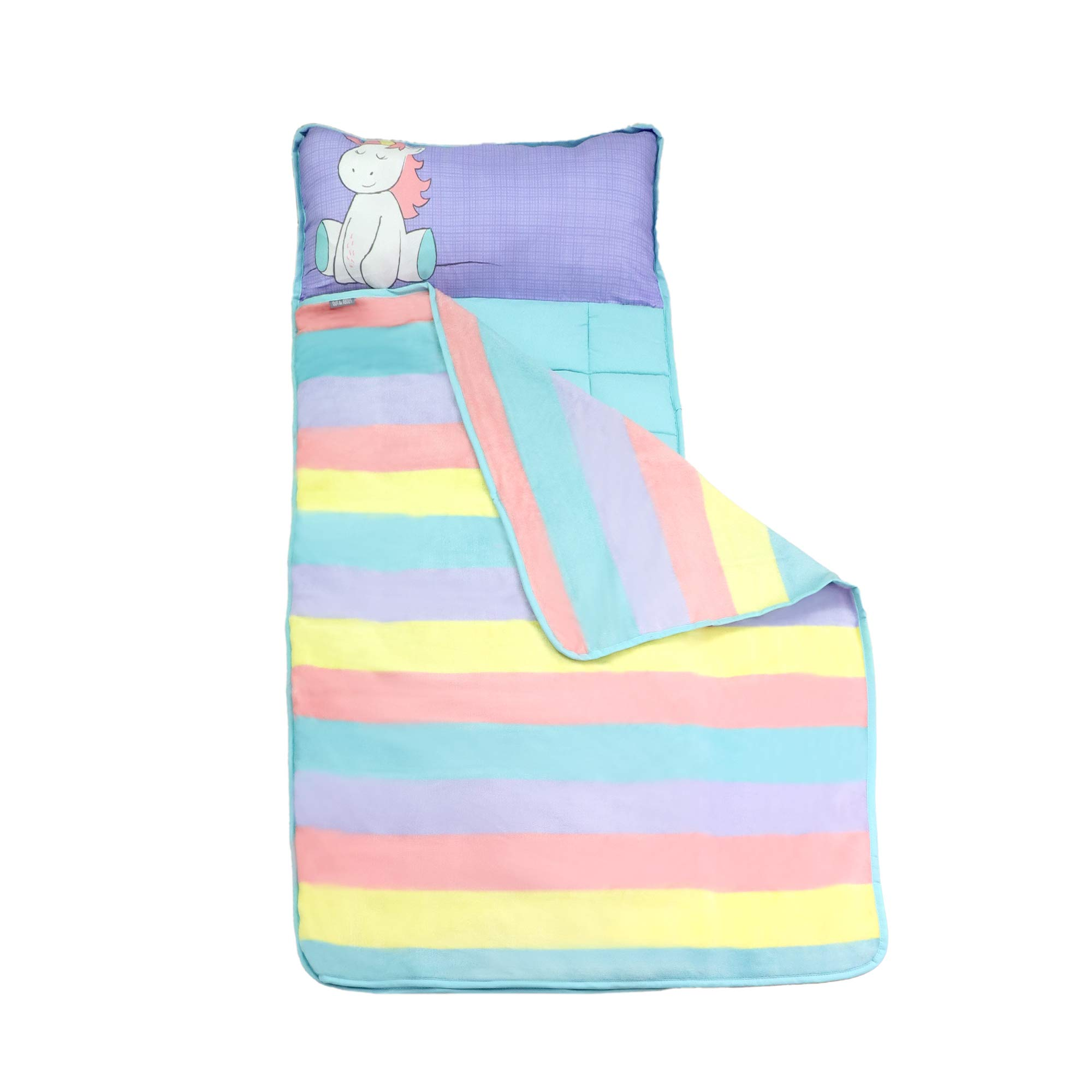 Toddler Nap Mats for Preschool Kinder Daycare - Blanket + Pillow for Boys or Girls - Foldable Comfy Cover (Unicorn) by Homezy