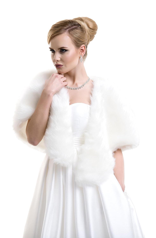 Lacey Bell Scialle Matrimoniale Donna Stola Coprispalle Pelliccia Ecologica FFJ-23