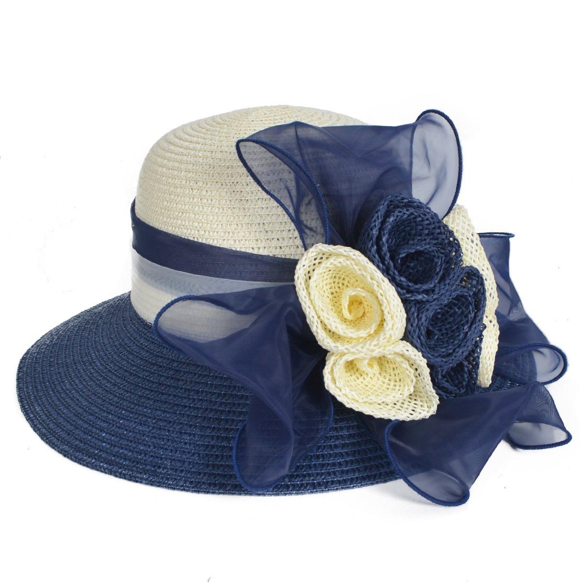 Women's Straw Cloche Hat Ribbon Flower Bucket Bridal Church Derby Cap (Navy)
