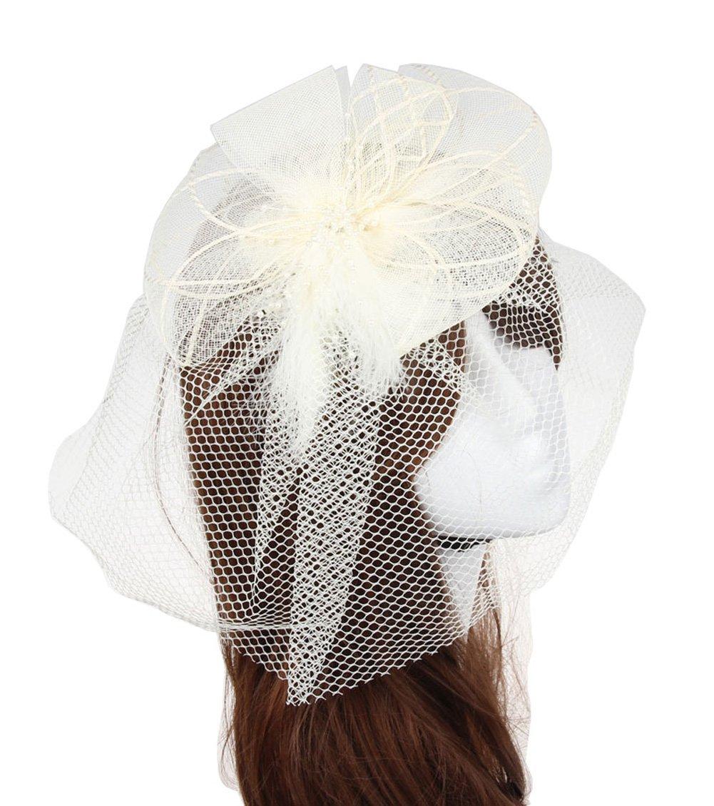CaliaDress Evening Cocktail Hair Clip Bridal Birdcage Face Veil Fascinator C010TS Black C010TS-BK