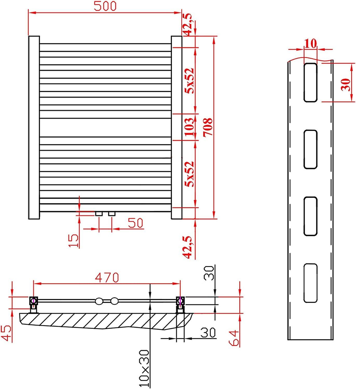 Design Badheizk/örper Handtuchheizk/örper 708x542 anthrazit gebogen mit Mittelanschluss nach EN442 360 Watt