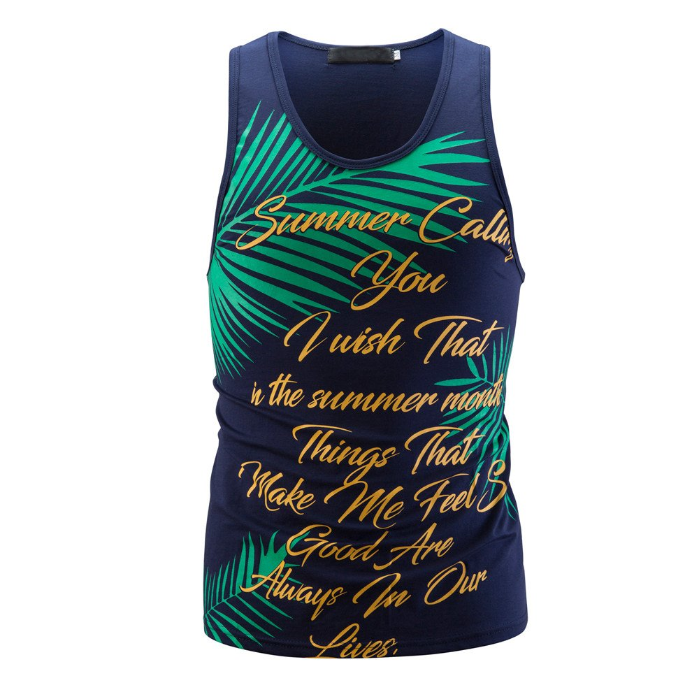 STORTO Mens Fitted Beach Swim Sports Print Workout Tank Tops Casual T-Shirts Tops