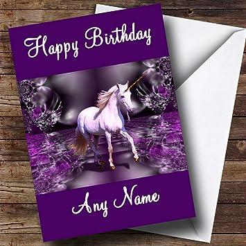 Purple Unicorn Personalised Birthday Card Amazon Office Products