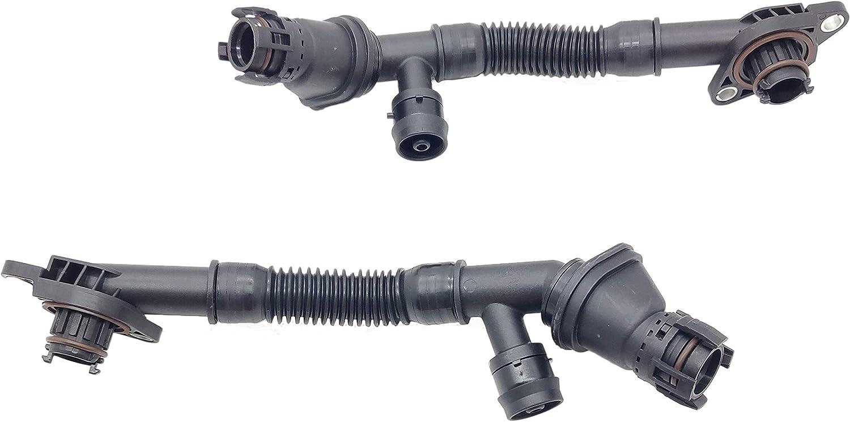 2PCS Left and Right Crankcase Ventilation Connecting Pipe for BMW 550i 650i 750i 750Li Alpina B7 X5 X6 xDrive35i N63 4.4L
