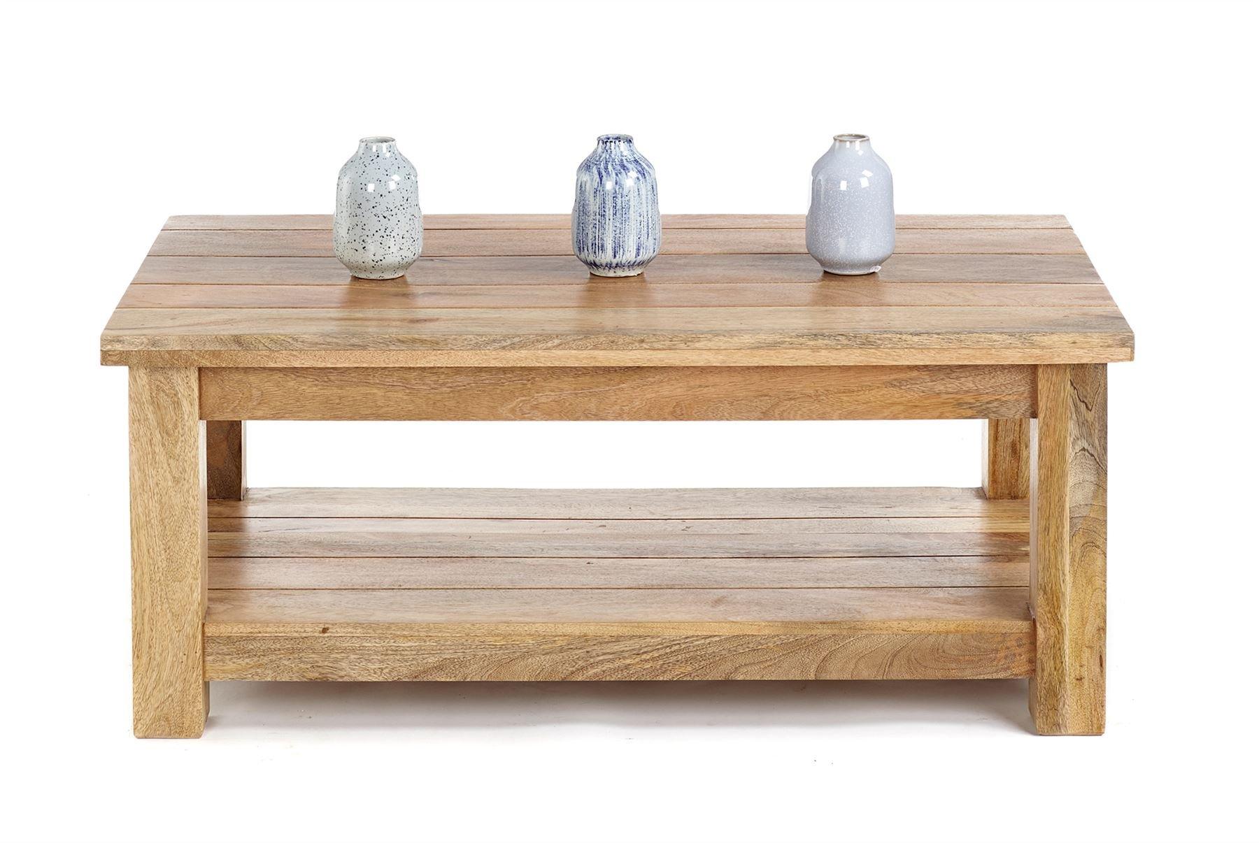 Elm Home And Garden Dorset Farmhouse Soild Hard Wood Coffee Table Shelf  Natural Light Oak Finish