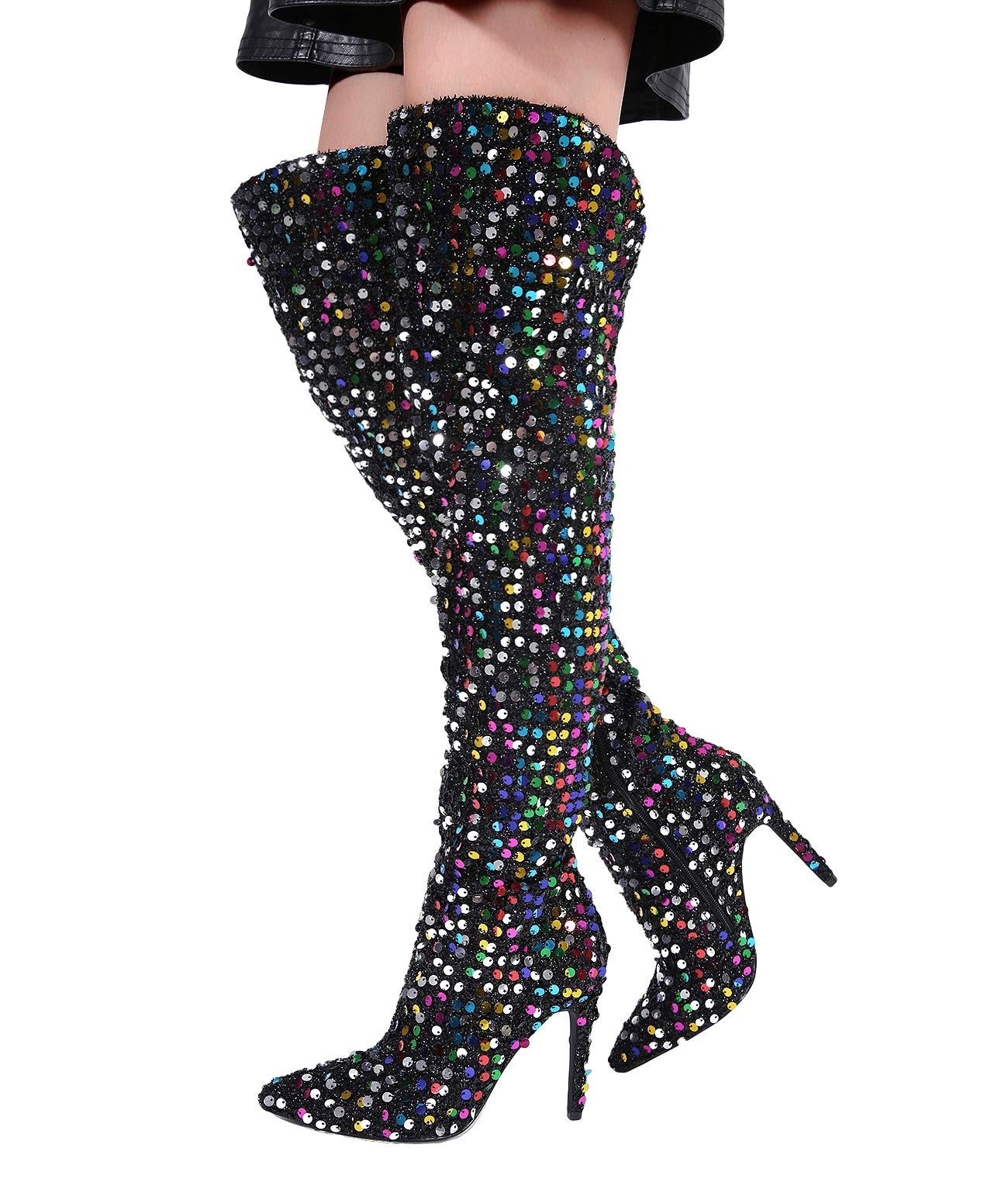 Stupmary Women Pointed Toe Sparkle Sequins Over The Knee Boots Winter Stilleo Heels Thigh High Bootie