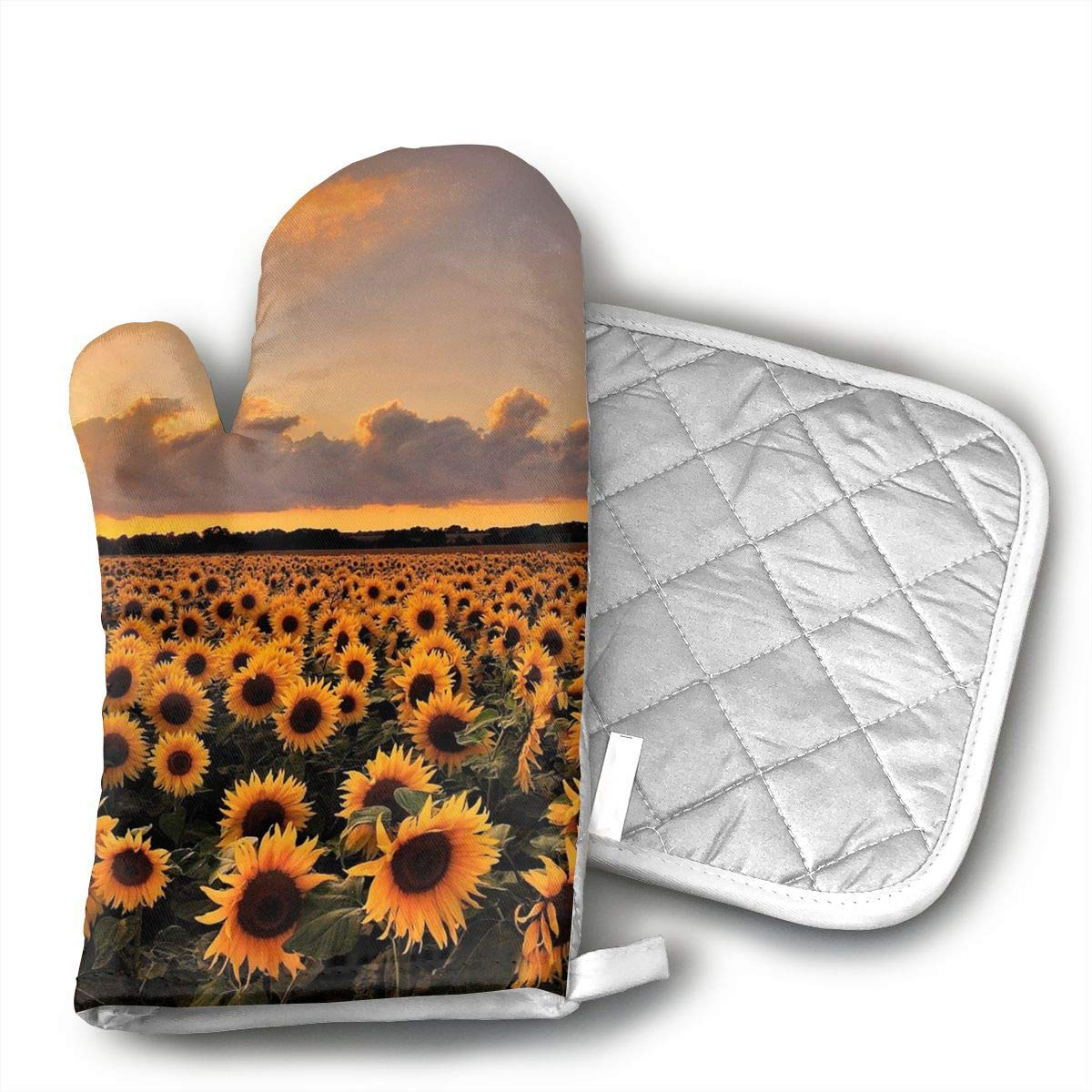 Xixioou Sunflower Oven Mitts Kitchen Gloves Potholder Kitchen Set, Heat Resistant, Oven Gloves Pot Holders 2pcs Set BBQ Cooking Baking Grilling