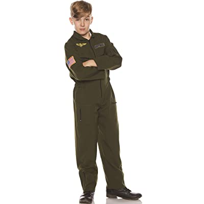 UNDERWRAPS Kid's Children's Air Force Flight Suit Costume - Khaki Childrens Costume, Green, Large: Clothing