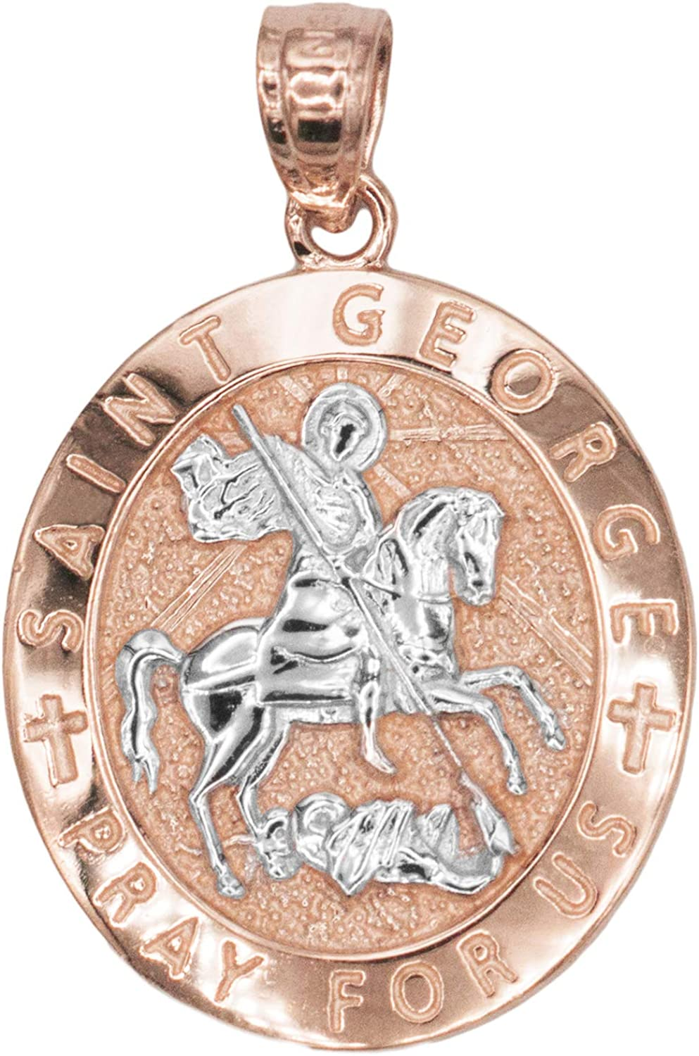 Ice on Fire Jewelry 10k Gold Saint George Medal Necklace