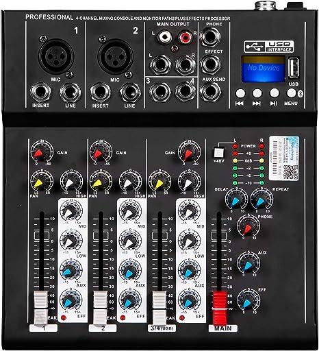 Depusheng HT4 Profesional 4 canales USB Jack Mezclador de audio ...