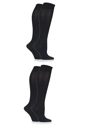 698783f4d96 Ladies 4 Pair Sockshop Plain Bamboo Knee High Socks - Black 4-8 ...