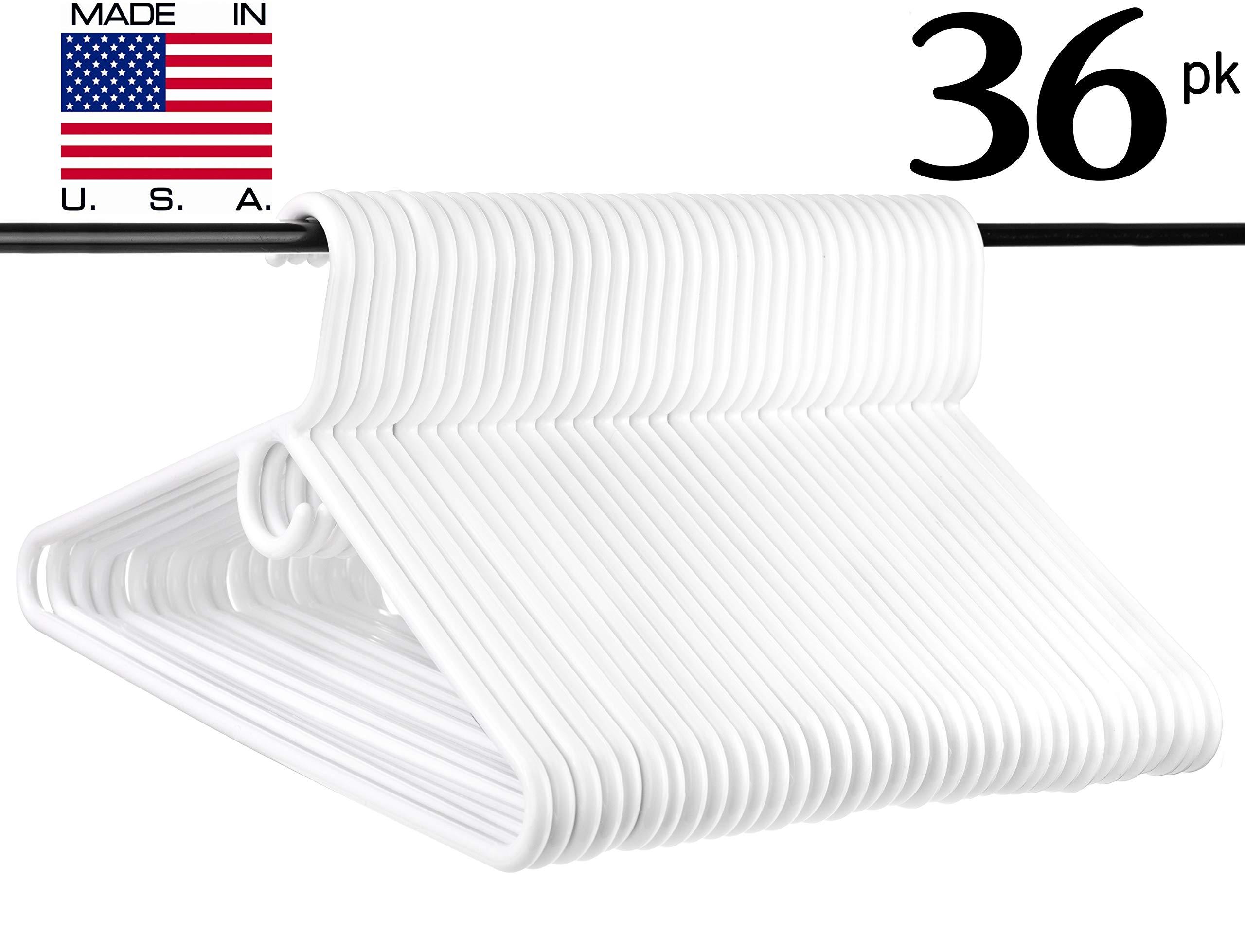 Neaties USA Made Super Heavy Duty White Plastic Hangers, 36pk