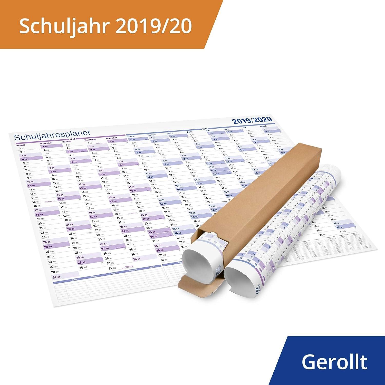 2er Pack: XXL Schuljahresplaner Schulkalender 2019//2020 Lieferung in Rolle Der Wand Kalender f/ür Lehrer und Sch/üler Format: 70x100 cm.