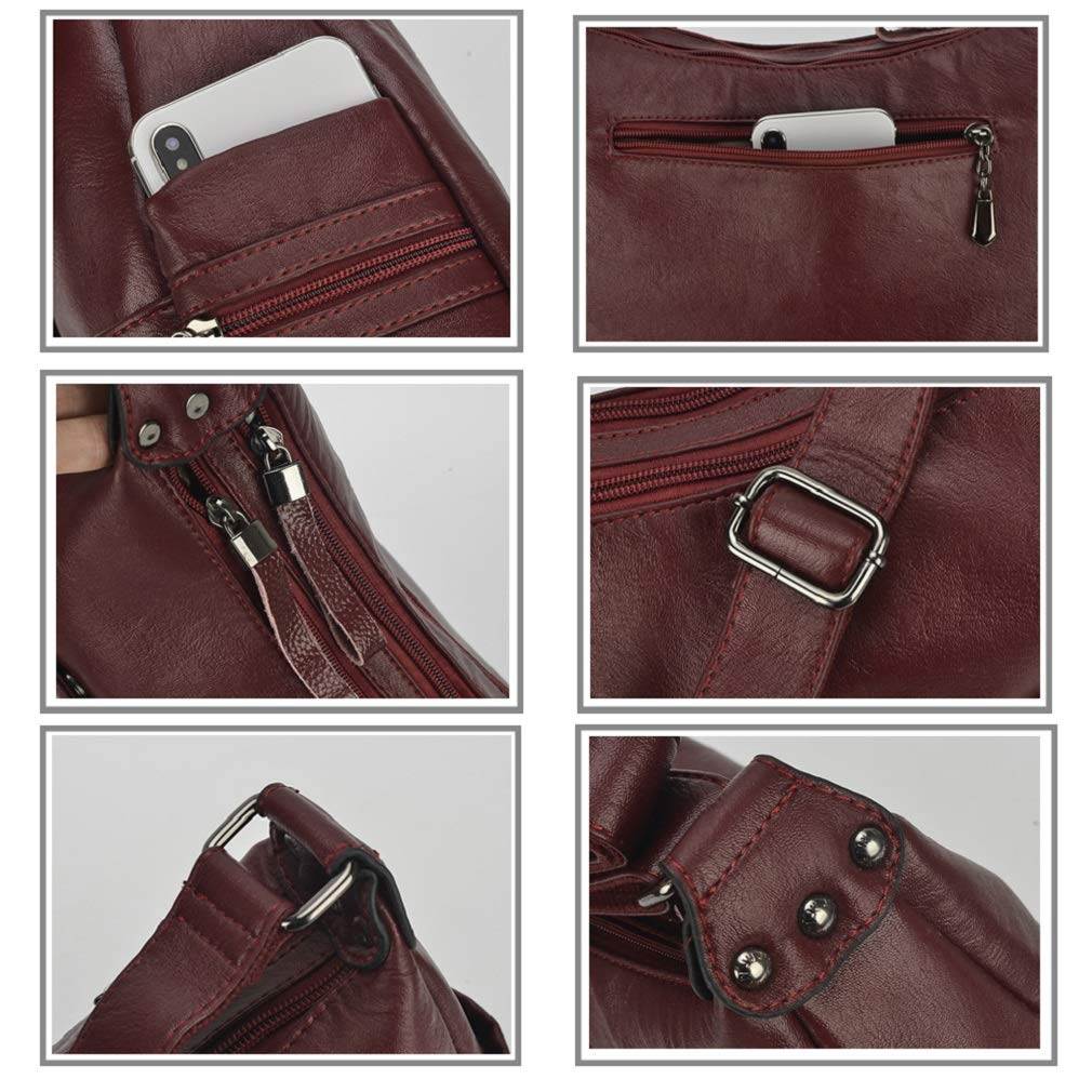 Alovhad Fashion Shoulder Tote Bags Handbag Messenger Hobo Cross Body Bags Purse Soft PU Leather Top Handle Bags for Women (Bronze-Big) by Alovhad (Image #4)