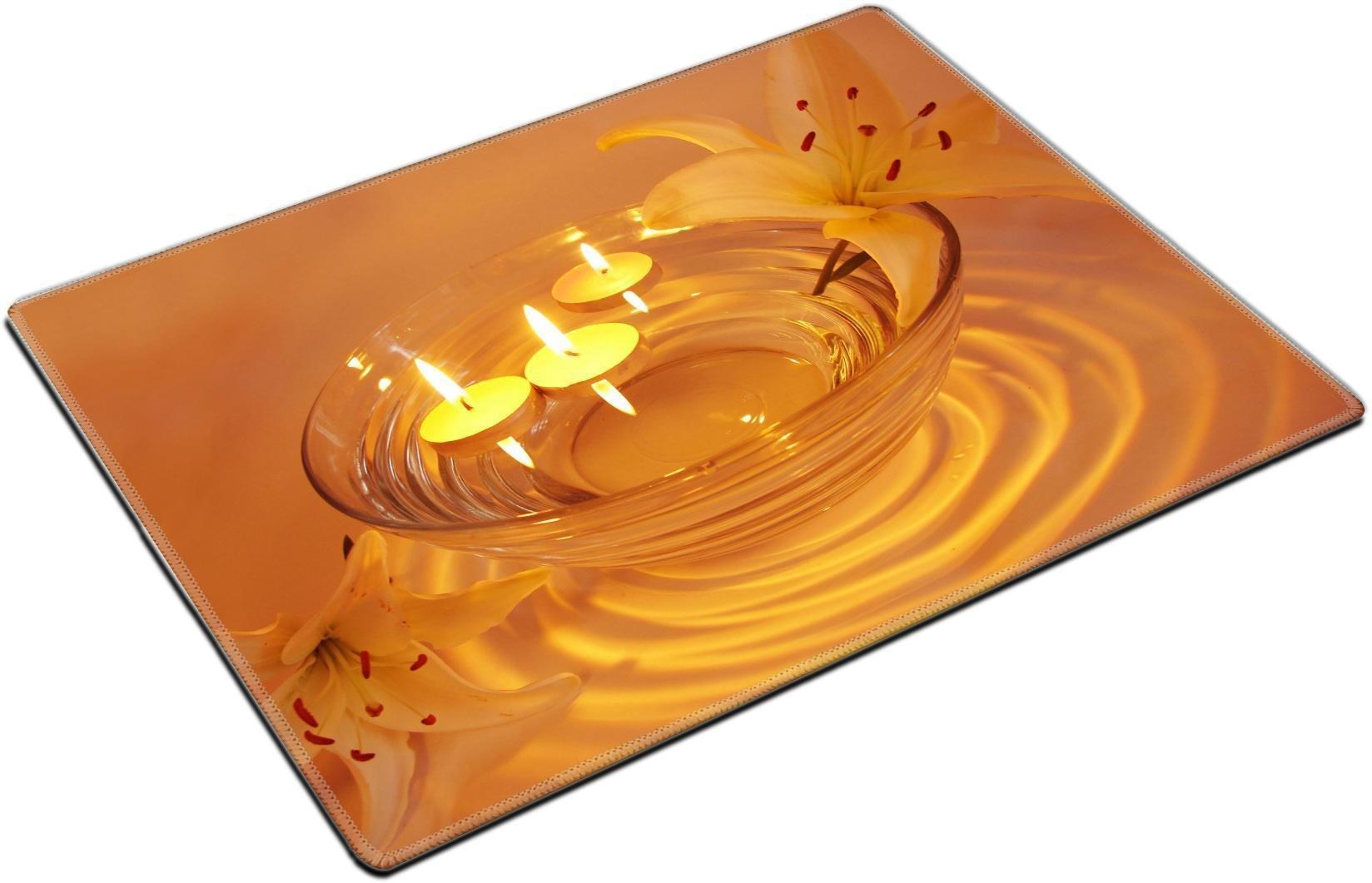 MSD Place Mat Non-Slip Natural Rubber Desk Pads Design: 11331697 Spa Lit Candles Lilies Flowers Health Care Treatment