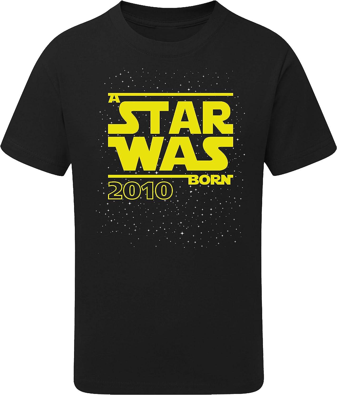 Camiseta: Star Was Born 10 años - Año 2010 - Regalo de cumpleaños para niños - T-Shirt Divertida - Fun - Humor - Diez - Chico - Niño - Niña - Parodia - Birthday - Galaxia-s: Amazon.es: Ropa y accesorios