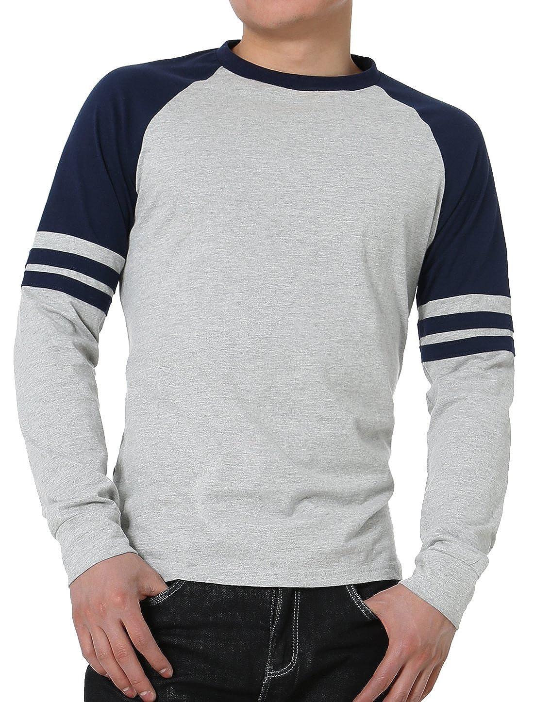 5dad8661c32 uxcell Men Causal Long Sleeves Crew Neck Contrast Colorblock Design Stripes  Baseball Raglan T-Shirt