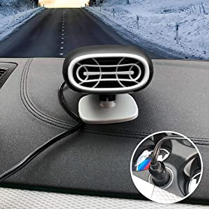 Upgrade Portable 2 in 1 Car Heater Defroster Car Air Fan Window Demister 30 Seconds Fast Heating Quickly Defrosts Defogger,12V 150W Portable Auto Ceramic Heater (Black)