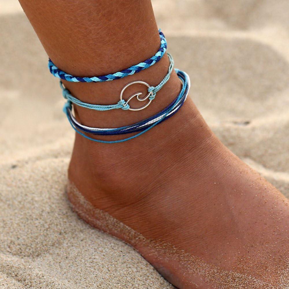 Ding Feng Li 3pcs Rope Beach Anklet Jewelry Boho Silver Wave Anklets Bracelets for Women