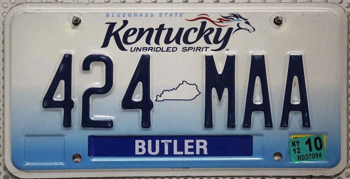 Usa Nummernschild Kentucky Kennzeichen Us License Plate Kfz Blechschild Unbridled Spirit Auto