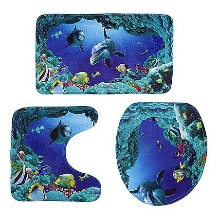 Bestomz 3pcs Set Ozean Stil Unterwasser Welt Delphin Carpe Wc Matte