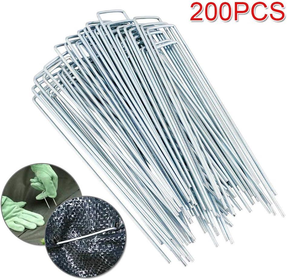 Shoze 200pcs Galvanised Metal U Pins Ground Stakes Camping Gazebo Tarpaulin Pegs Hooks Artificial Grass Pegs Membrane Pegs