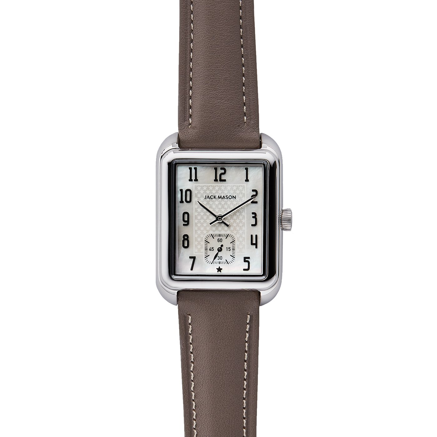 Jack Mason Women's Watch Issue No 2 SS Sub Second MOP Dial Taupe Leather Strap