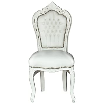 Weiße Stühle Esstisch Esszimmer Barockmöbel Aus Massivholz Barockstuhl Sky  Leder