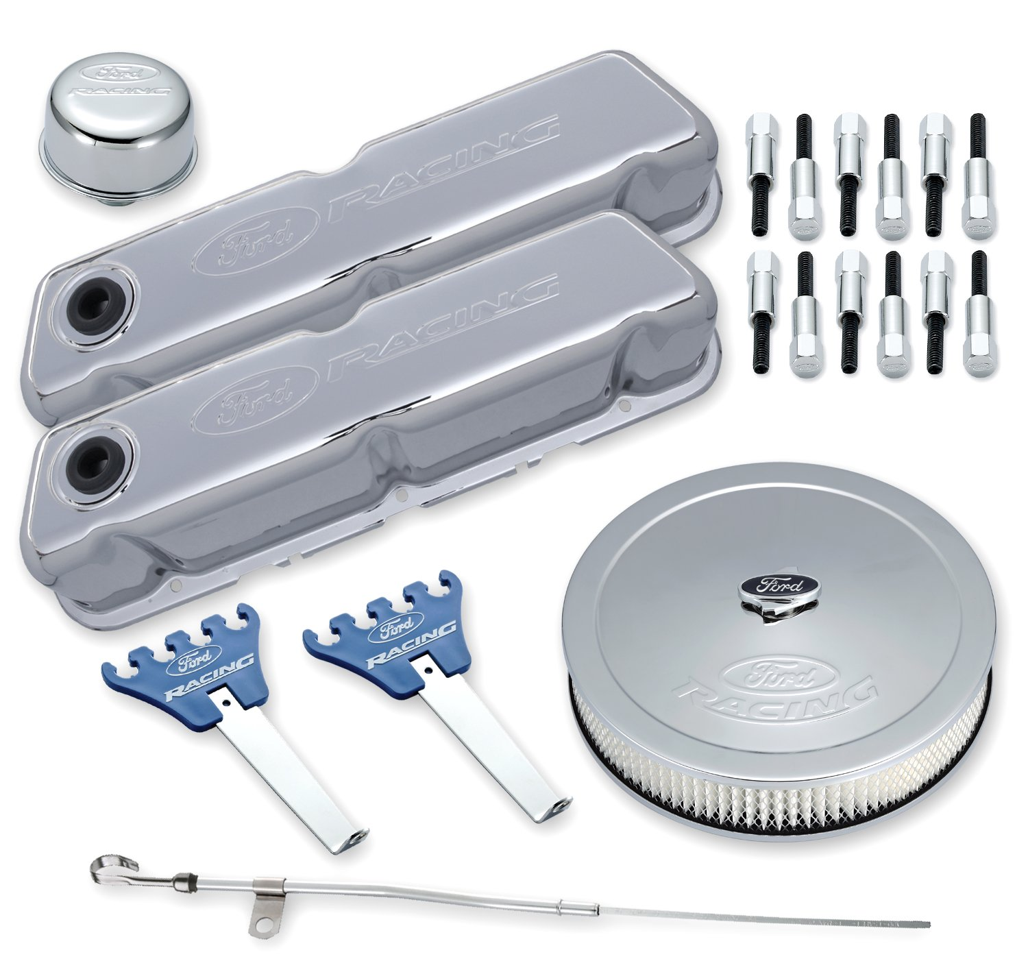 Proform 302-515 Chrome Engine Dress-Up Kit with Embossed Ford Racing Logo for Ford 289-351 Windsor