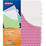 Avery 8-Tab Plastic Binder Dividers with Pockets, Insertable Clear Big Tabs, Assorted Designs, 1 Set (7709)