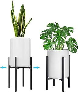 "IronBuddy Metal Plant Stand Modern 10"" to 15"" Adjustable Flower Pot Holder Display Rack for Indoor Outdoor Planters (Black)"