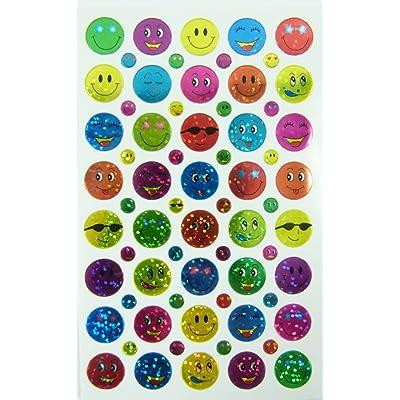 10 hojas de papel de cara sonriente pegatinas Glittered (400 pegatinas): Hogar