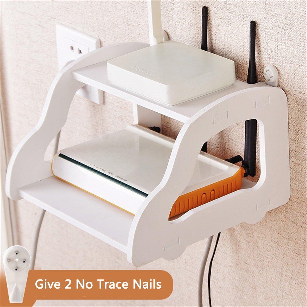 ShouYu Wall Mounted WIFI Router Shelf Set-top Box Bracket Creative Storage Box Rack Double Floating Shelf(White,22 x 21 x 15cm)
