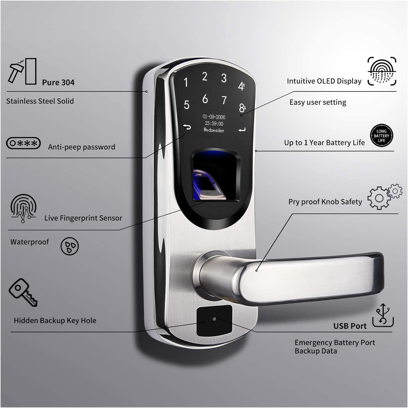 Smart Fingerprint Stainless Steel Touchscreen with Electronic Keypads Two-Factor Authentication WeJupit V8 Keyless Entry Door Lock Left Handle Spare Key Digital Biometric Auto-Lock