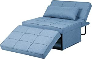 Diophros Folding Ottoman Sleeper Guest Bed, 4 in 1 Multi-Function Adjustable Guest Sofa Chair Sofa Bed (Light Blue)