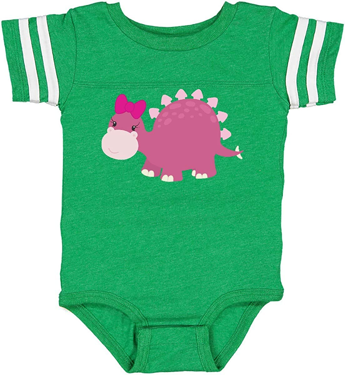 inktastic Cute Pink Dinosaur with Bow Infant Creeper