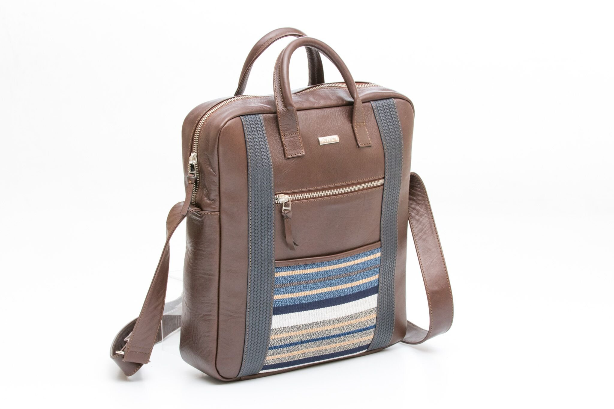 MORRAL Leather and Cotton Messenger Bag (Brown)