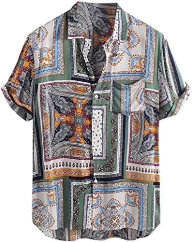 RDHOPE-Men Ethnic Style Casual Loose Floral Printed Business Shirt