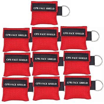 LSIKA-Z Máscara de CPR, Paquete de 10pcs/12pcs CPR Llavero Escudo Facial